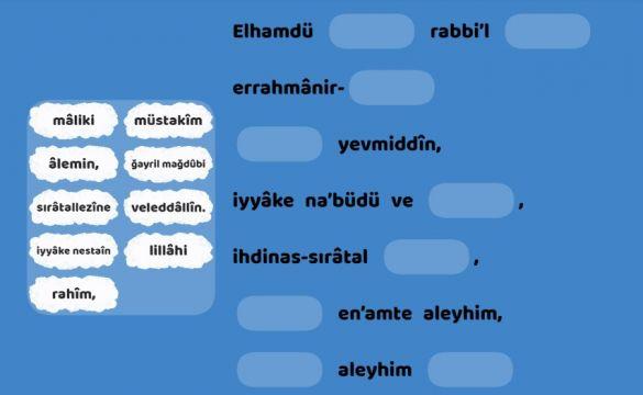 4.3.Fatiha suresi eksik sözcüğü tamamla